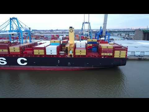 Aerial Drone Video of Cargo Ship MSC Shuba B Delaware River Philadelphia
