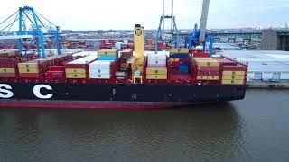 Aerial Drone Video of Cargo Ship MSC Shuba B Delaware River Philade...