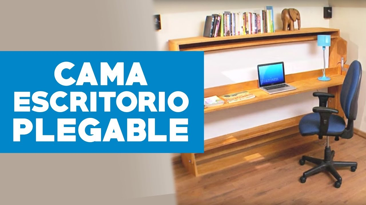 C mo construir un escritorio con cama plegable youtube for Camas con cajones debajo