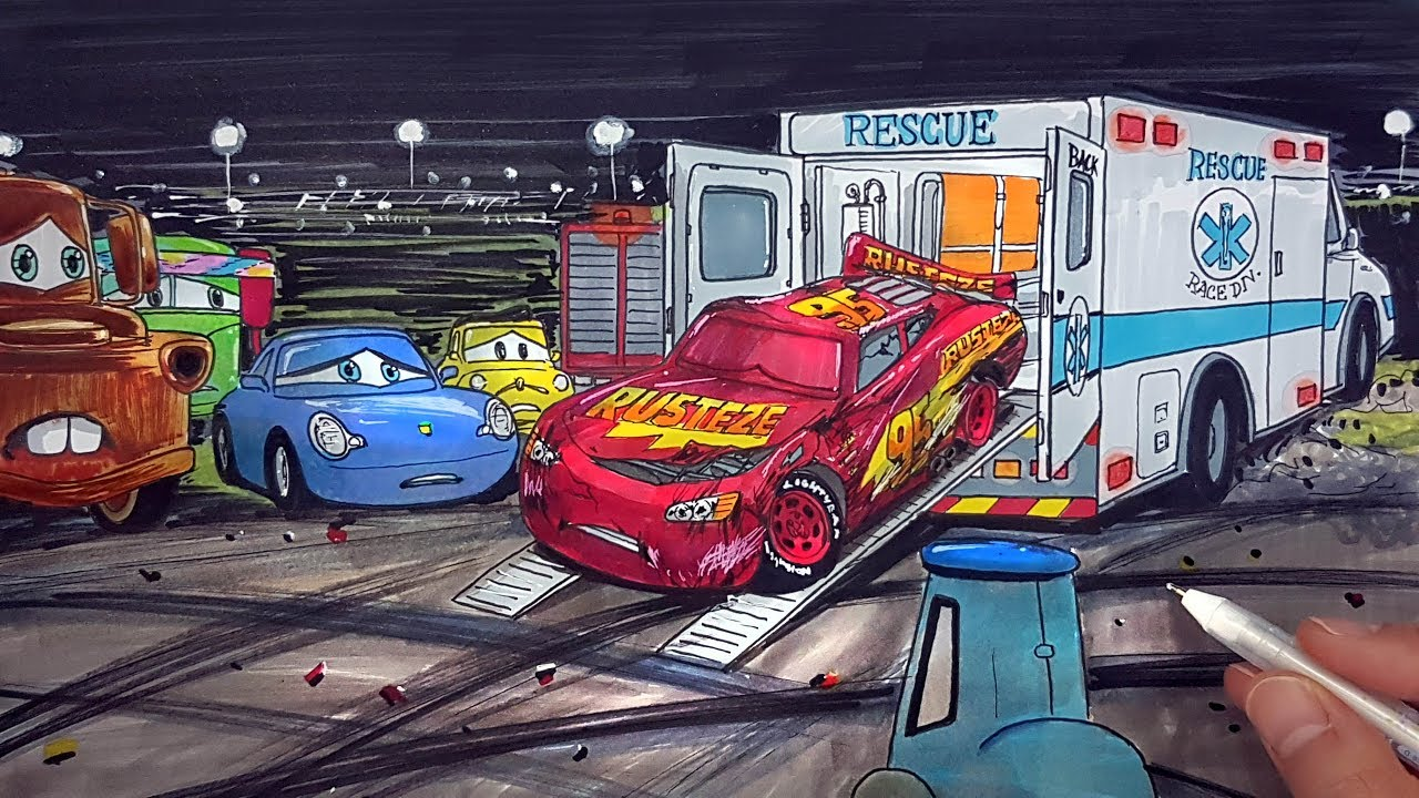 Draw LIGHTNING McQUEEN badly injured after crash CARS 3 ambulance rescue drawing coloring for kids