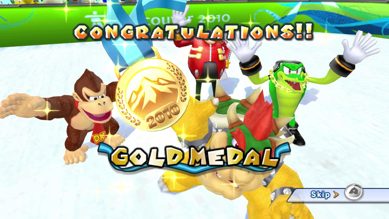 Mario & Sonic at the Winter Olympic Games (Wii) All Events 1st Place