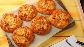 Мини-пицца (как в школе) — рецепт в духовке с колбасой и сыром