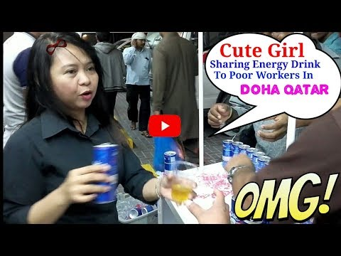 Cute Girl Sharing Energy Drinks To Poor Workers In Doha Qatar || Ss Sah Ji ||
