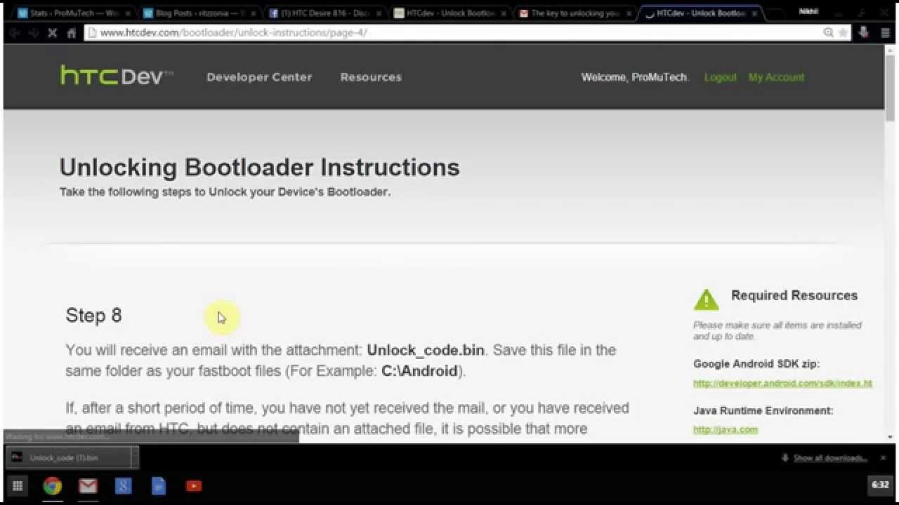 HTC Desire 816 rooting Part 1 Unlocking BootLoader