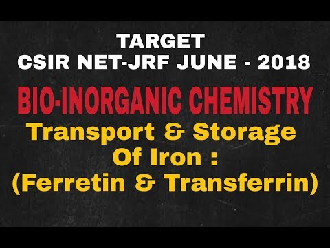 Lecture - 19 ll Bio-Inorganic Chemistry ll Storage & Tansport Of Iron : Ferretin & Transferrin