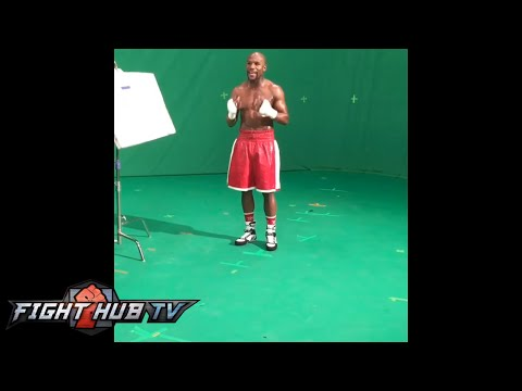 Behind the scenes of Floyd Mayweather vs  Manny Pacquiao PPV shoot- Quick snap!