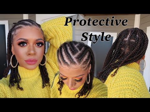 moisturized-cornrows-&-braids-protective-style-no-added-hair-|-natural-hair-styles