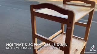 KỆ LÒ VI SÓNG 4 TẦNG (có 3 tầng) gỗ cao su tự nhiên, nội thất gỗ giá rẻ bmt