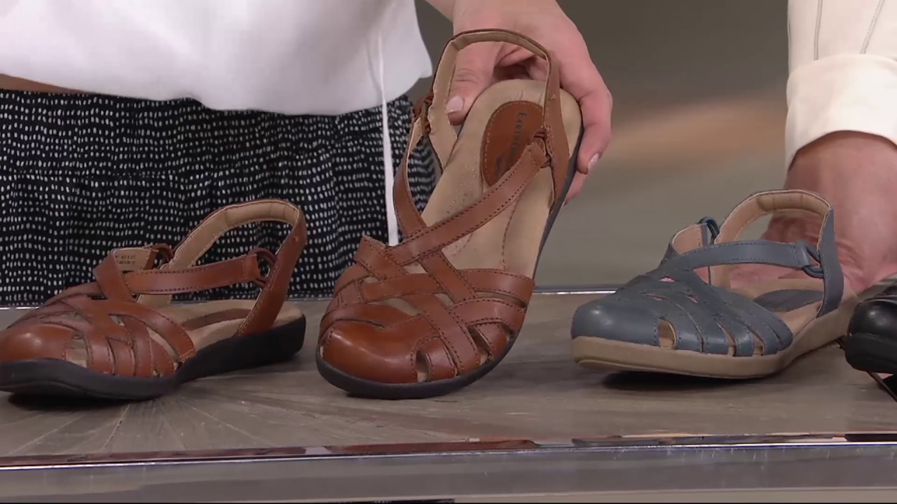 20e0d906b56a Earth Origins Leather Closed Toe Sandals - Nellie on QVC - YouTube