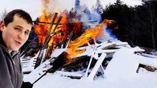 Starting a Massive Barn Bonfire with Flame Throwers
