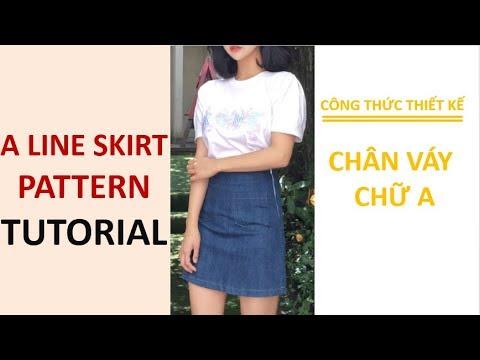 DIY A Line skirt pattern – Công thức thiết kế chân váy chữ A rất đơn giản