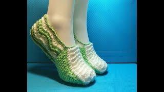 Вязание спицами домашние тапочки #209