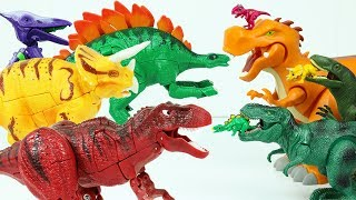 Rainbow Dinosaurs Transforming Robot Toys Battle with Hello Carbot and Jurassic World Figures