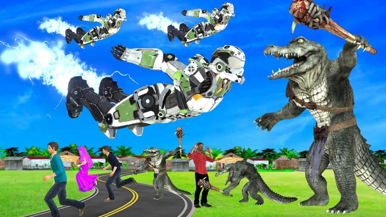 रोबोट और मगरमच्छ लड़ाई जादुई Kahani 3D Hindi Kahaniya Robot Gorilla Bed Time Stories हिंदी कहानिया