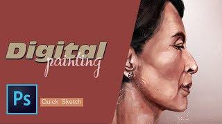 Aung San Su Kyi -Digital Speed Painting Portrait CS6(Quick Sketch)