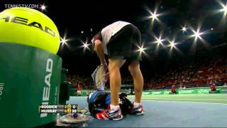 🎾ANDY RODDICK RACKET SMASH WHILE LOSING TO ANDY MURRAY PARIS MASTER 2011