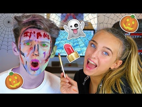 MY LITTLE SISTER DOES MY HALLOWEEN MAKEUP (GONE WRONG)