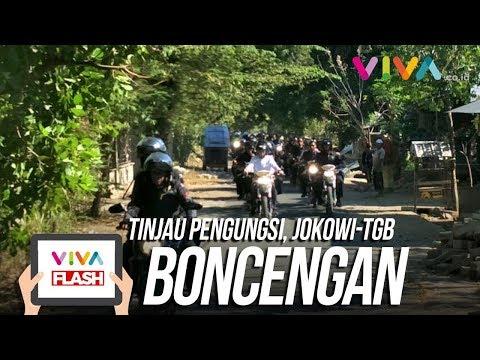 Gaya Jokowi Bonceng TGB Naik Motor Trail Tinjau Pengungsi