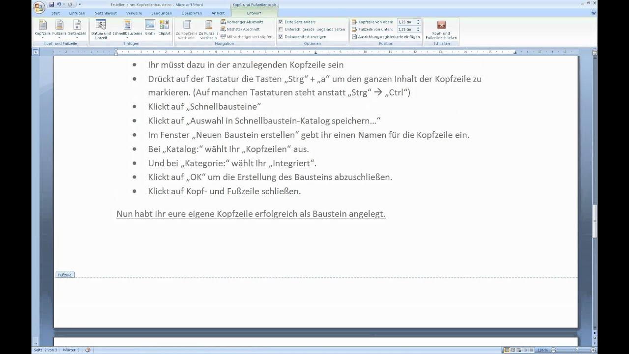 Microsoft Word 2007/2010 Kopfzeilen-Baustein erstellen - YouTube