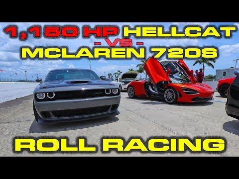 1,150 Horsepower Dodge Challenger Hellcat vs stock McLaren 720S Roll Racing from 45-160 MPH
