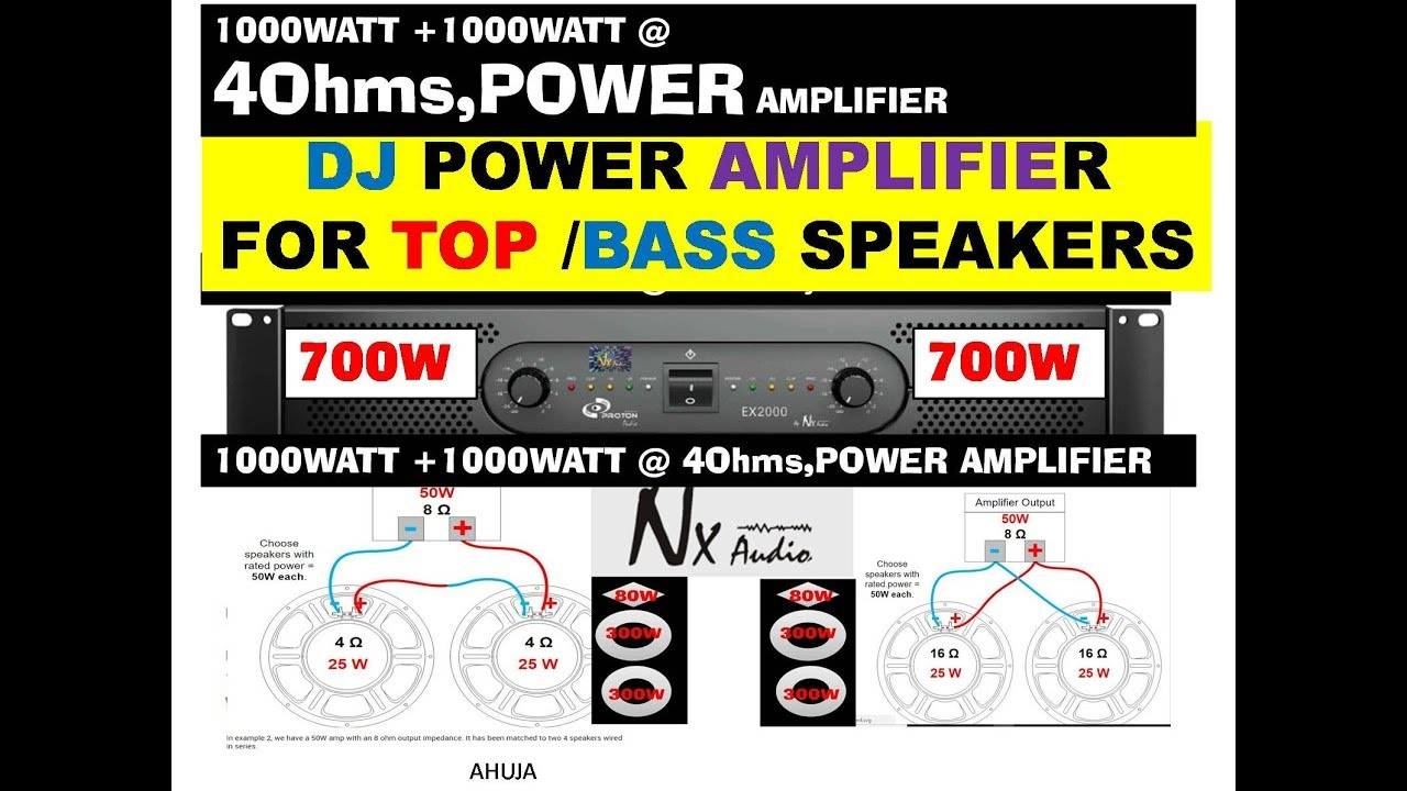 Nx Audio Ex 2000 3000 Dj Power Amplifier With Speakers Wiring Indicator For Connection