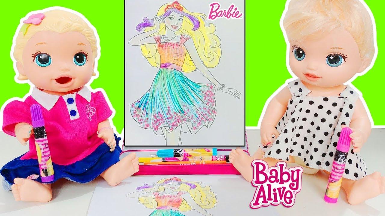Baby Alive Blonde Lily Barbie Prenses Boyama Yapiyor Okul