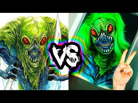I tried to recreate my favorite artist's work with makeup | Alex Pardee Inspired Bodypaint Tutorial