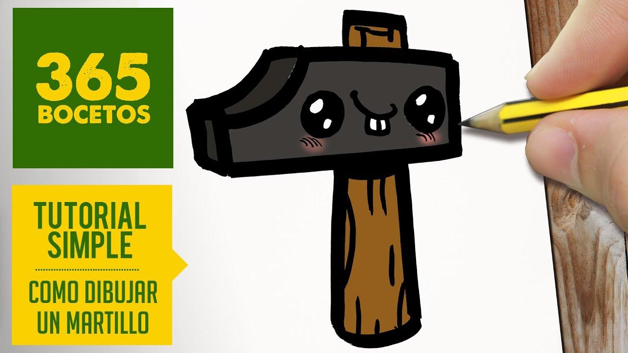 como dibujar un martillo kawaii paso a paso dibujos