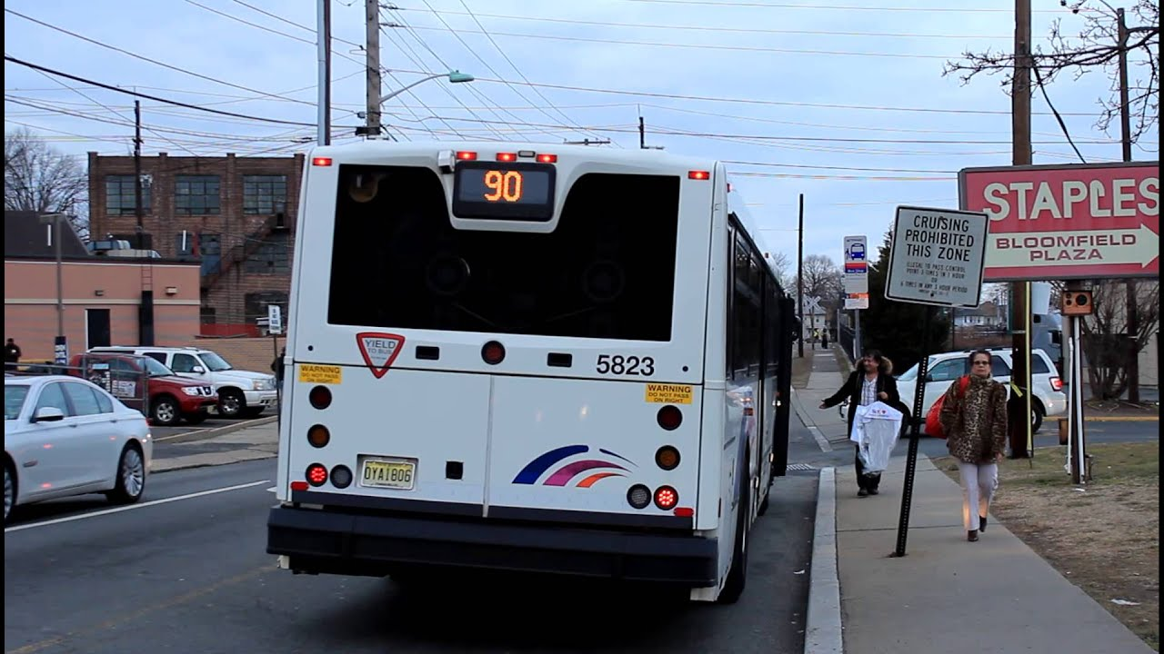 njt bus 40sfw 5823 route 90 at grove street bloomfield ave youtube. Black Bedroom Furniture Sets. Home Design Ideas