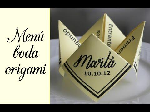 Wedding Idea Menu Origami Youtube