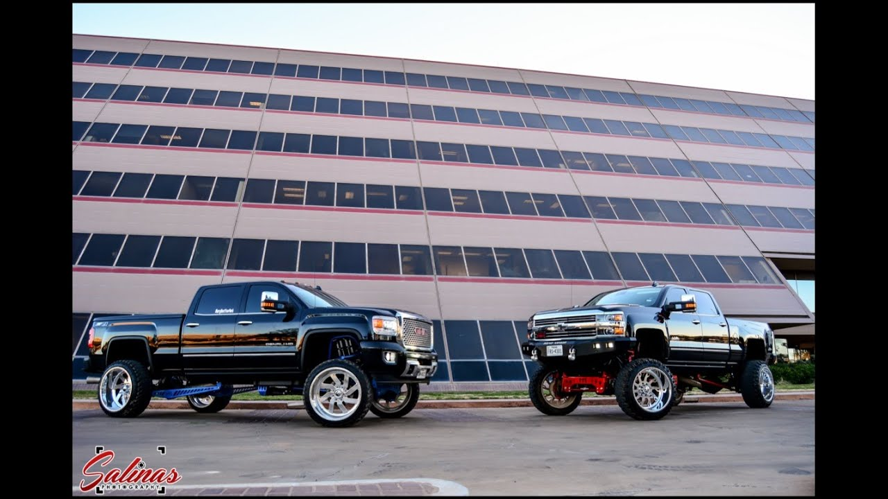 GMC Denali And Chevy High Country on big rims and bigger ...