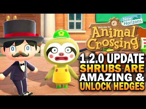 1.2.0 Update! Shrubs Are A Design Game Changer u0026 Unlock Hedges! Animal Crossing New Horizons Update
