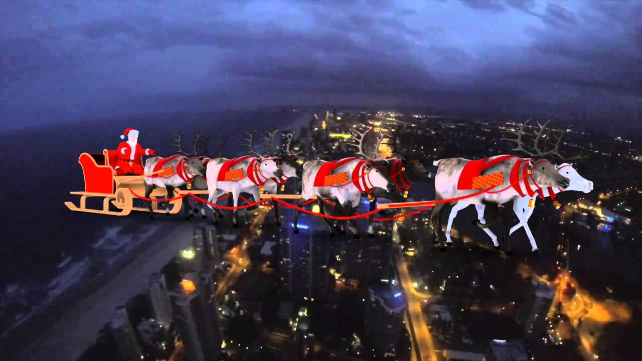 Santa Claus Amp Flying Reindeers In The Sky Surfers Paradise