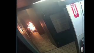 Electrical Fire Caught on Surveillance Video with Fire Sprinkler Activation