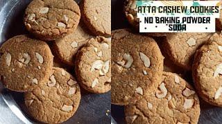 Eggless Atta Cashew Cookies: Baking Without Baking Powder, Soda, Airfryer Recipe