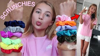 colored scrunchies pick my outfits for a week