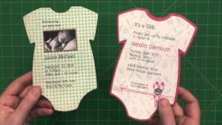 "5"" x 7"" Baby Onesie Invite or Announcement"