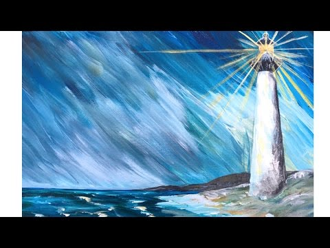 Lighthouse in a Storm - Step by Step Acrylic Painting on Canvas for Beginners