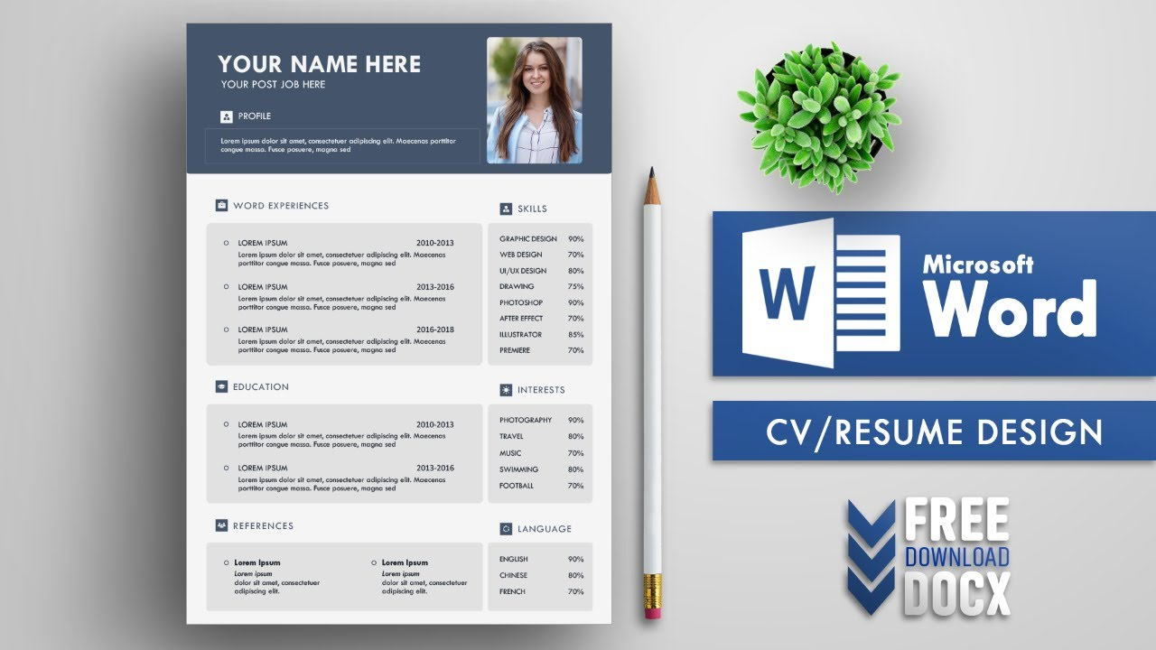 Creative Cv Resume Template Design In Microsoft Word Free Docx