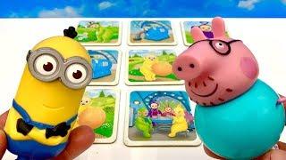 Tata Świnka i Minionek graja w gre Memory  Czy Tata Peppy wygra Zobaczcie sami