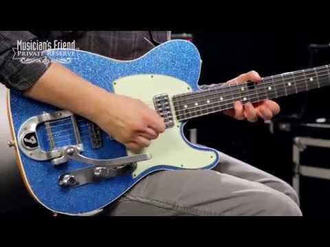 Fender Custom Shop Double TV Jones Relic Telecaster with Bigsby Electric Guitar, Blue Sparkle