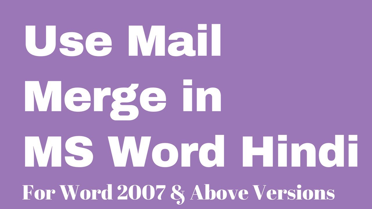 Use mail merge in ms word hindi youtube use mail merge in ms word hindi stopboris Images