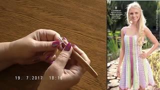 Как связать красивый сарафан из разноцветных полос