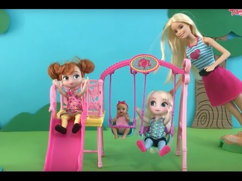 Thumbnail: Baby Sitter Barbie takes Elsa & Anna to the Play Ground! Slide Swing Sand Ducks & Ice Cream!