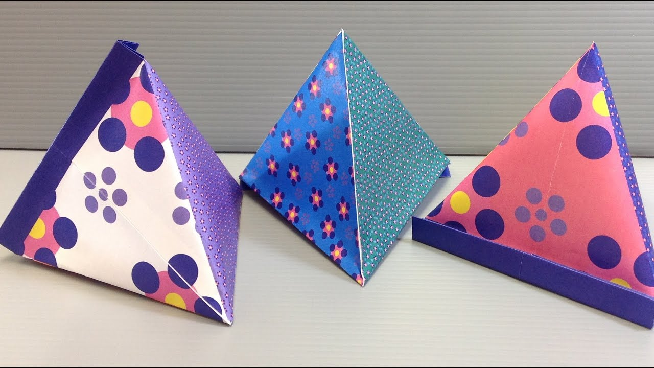 Origami flower pattern pyramid container print at home youtube mightylinksfo