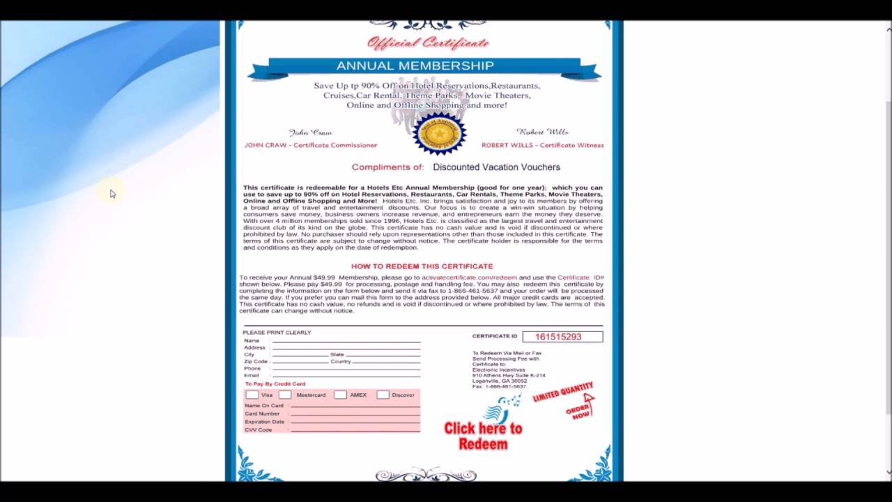 free discount vacation vouchers travel membership certificate