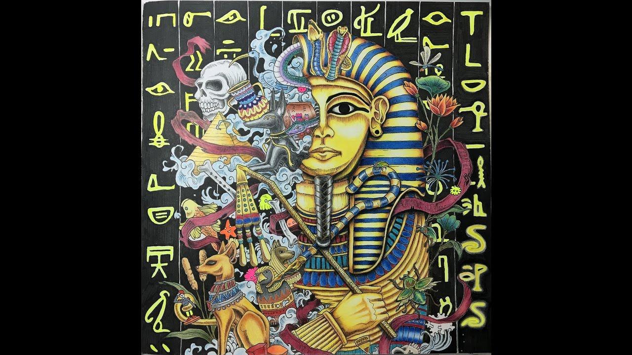 golden pharaoh imagimorphia coloring book time lapsed tutorial