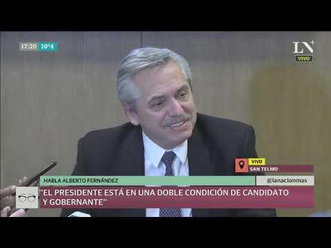 Alberto Fernández en conferencia de prensa después de hablar con Macri