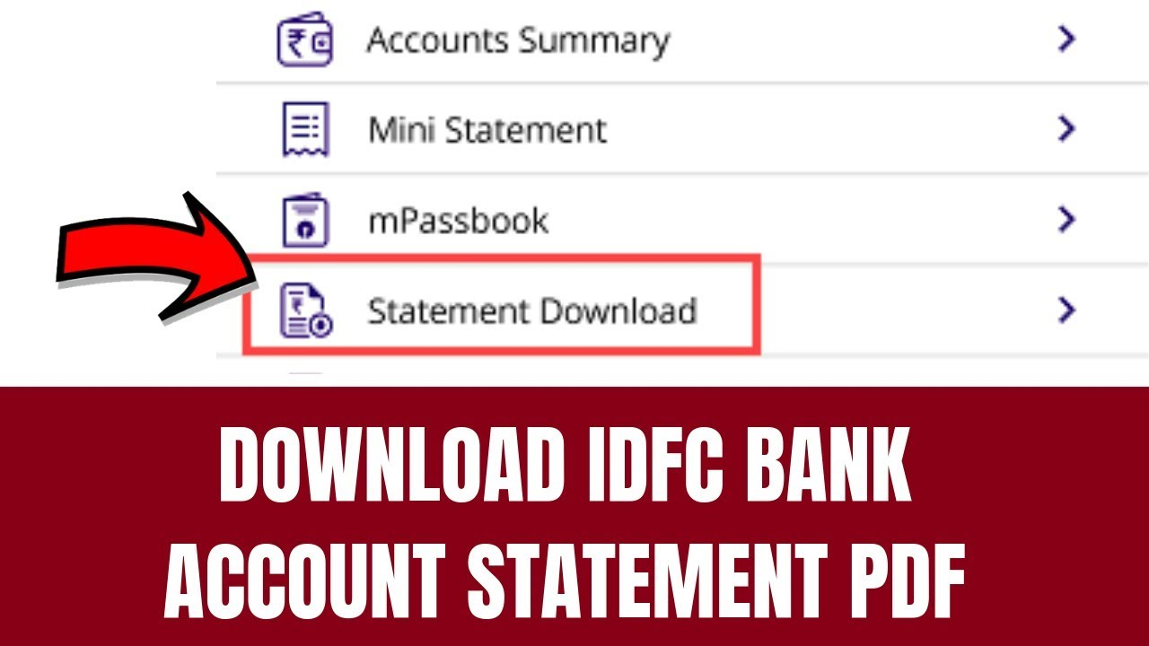 How To Download Idfc Bank Account Statement Pdf How To Download Bank Account Statement Youtube