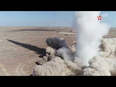 Замедленная съемка попадания ракеты ОТРК «Искандер-М» в цель